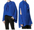 Áo nữ Balenciaga 40 US Button Down Pleated Blouse Blue 4